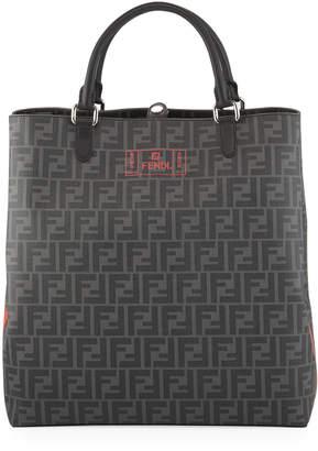 Fendi Men's FF Canvas Tote Bag with Neon Logo