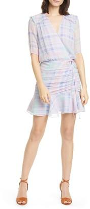 Veronica Beard Dakota Plaid Faux Wrap Silk Minidress