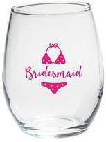 Kate Aspen Set of 4) Bridesmaids Beach Bikini 15 Oz. Stemless Wine Glass