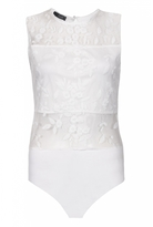 Quiz White Mesh Flower Embroidered Sleeveless Bodysuit