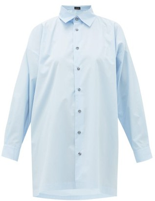 eskandar Longline Flared Cotton-poplin Shirt - Light Blue