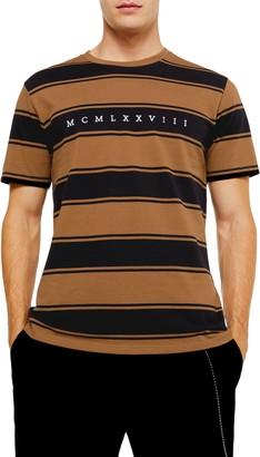 Topman Embroidered Stripe Pique Crewneck T-Shirt
