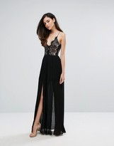 Rare London Eyelash Plunge Double Side Split Maxi Dress