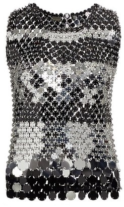 Paco Rabanne Sleeveless Metallic Paillette Top