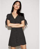 Express polka dot tie sleeve shirt dress