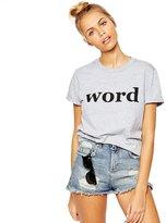Merry Mou Store Merry Women's Boyfriend Style WORD Letter Print Cotton Slim Short Sleeve T Shirt