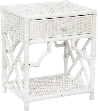 Santorini Imports Jessie Rattan Bedside Table White