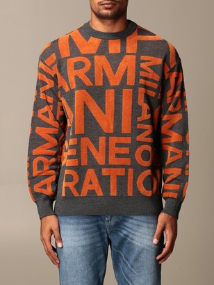 Emporio Armani Sweater Crewneck Sweater With All Over Logo