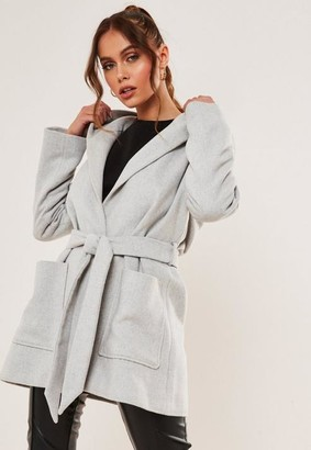Missguided Gray Hooded Belted Coat