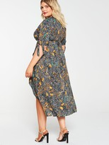 AX Paris Curve Chain Print Wrap Dress - Multi