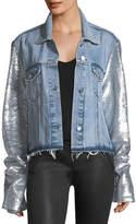 RtA Haylee Button-Front Denim Jacket w/ Sequin Sleeves