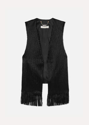 Chloé Fringed Crushed-velvet Vest - Black