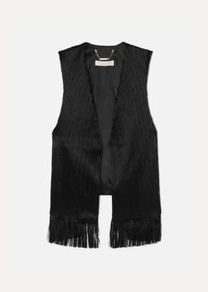 Chloé Fringed Crushed-velvet Vest - Black