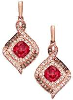 Macy's Rhodolite Garnet (2 ct. t.w.) and Diamond (3/8 ct. t.w.) Drop Earrings in 14k Rose Gold