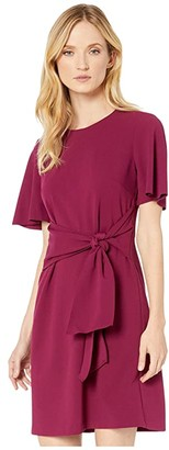 Donna Morgan Tie Front Crepe Dress (Mulberry) Women's Dress