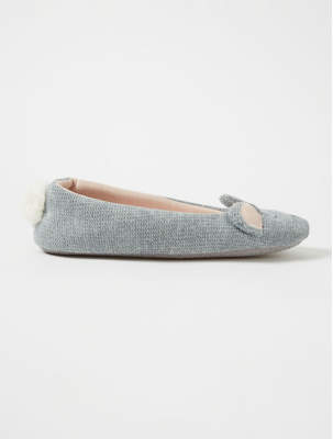 George Grey Mouse Crown Ballerina Slippers