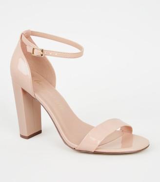 New Look Wide Fit Patent 2 Part Block Heels
