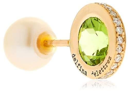 Delfina Delettrez Seal Gold Peridot & Pearl Mono Earring