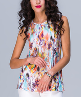 JET Mustard & Coral Abstract Sleeveless Top