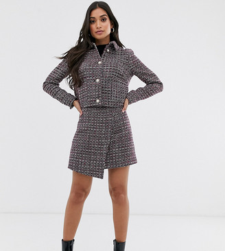 Fashion Union Petite a-line wrap mini skirt in tweed co-ord