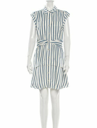 Derek Lam Striped Knee-Length Dress Blue