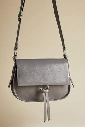 Ted Baker Womens Harrlee Leather And Suede Cross Body Bag - Grey
