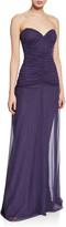 Chiara Boni Deni Strapless Ruched Tulle Bustier Column Gown