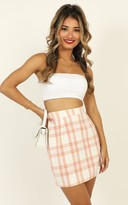 Showpo First Editions Skirt in peach check - 6 (XS) Mini Skirts