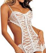 Fashion Story Babydoll Teddies Lingerie Crochet Net Lace Sleepwear Underwear