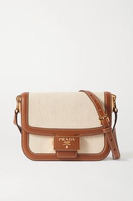 Prada Embleme Leather-trimmed Canvas Shoulder Bag - Neutral