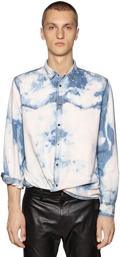 Diesel Bleached Cotton Denim Western Shirt