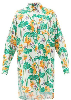 Loewe Paula's Ibiza - Oversized Floral-print Cotton-poplin Shirt - White Multi