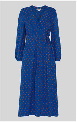 Whistles Maria Spot Silk Wrap Dress