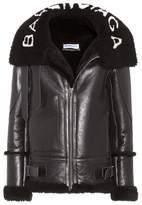 Balenciaga Shearling-lined leather jacket