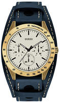 Guess Brasstone and Blue Genuine Removable Leather Cuff Watch