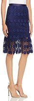 Aqua Lace Ruffle Midi Skirt