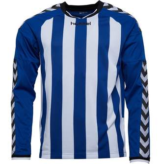 Hummel Mens Stay Authentic Striped Long Sleeve Match Jersey True Blue/White