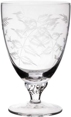 The Vintage List Six Hand-Engraved Crystal Bistro Wine Glasses With Ferns Design