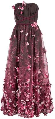 Marchesa 3D draped floral print organza tea length dress