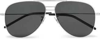 Saint Laurent Aviator-Style Silver-Tone And Acetate Sunglasses