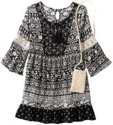 Knitworks Girls 7-16 Lace Trim Patterned Babydoll Dress with Crochet Crossbody Purse