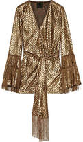 Anna Sui Fringed Metallic Devoré-chiffon Wrap Top - Gold