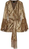 Anna Sui Fringed Metallic Devoré-chiffon Wrap Top - Gold