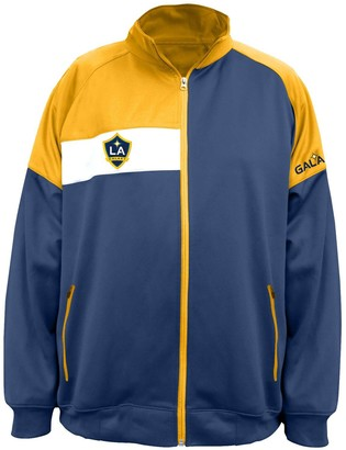 Majestic Men's Navy/Gold LA Galaxy Big & Tall Poly Fleece Full-Zip Track Jacket
