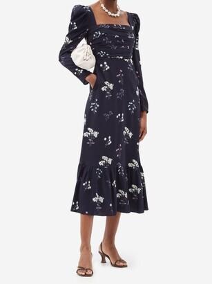 Self-Portrait Square-neck Floral-print Midi Dress - Navy Print