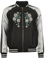 Golddigga Womens Embroidered Bomber Jacket Top Coat Crew Neck Long Sleeve