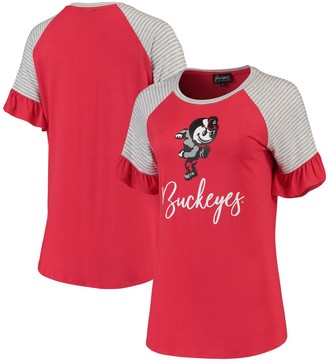 Women's Scarlet Ohio State Buckeyes Twist It Up Ruffle Sleeve Raglan T-Shirt