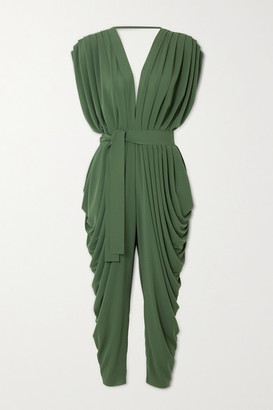 Norma Kamali Belted Draped Stretch-jersey Jumpsuit - Green