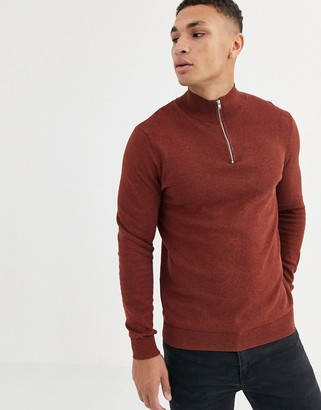 Topman turtle neck half zip jumper in rust