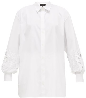 Rochas Floral-embroidered Cotton-blend Shirt - Womens - White